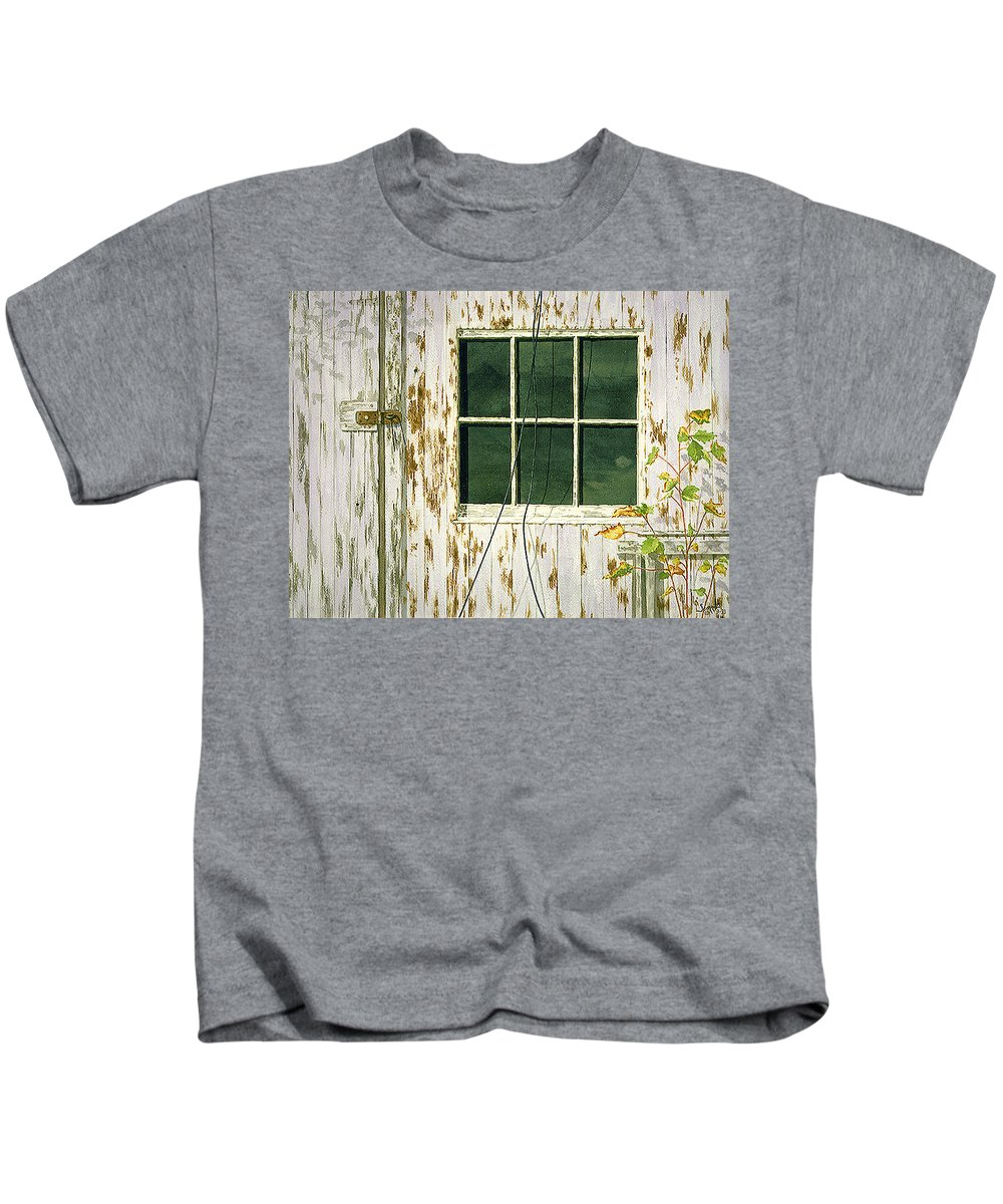 Kids T-Shirt featuring the painting Out Building Window by Tony Scarmato