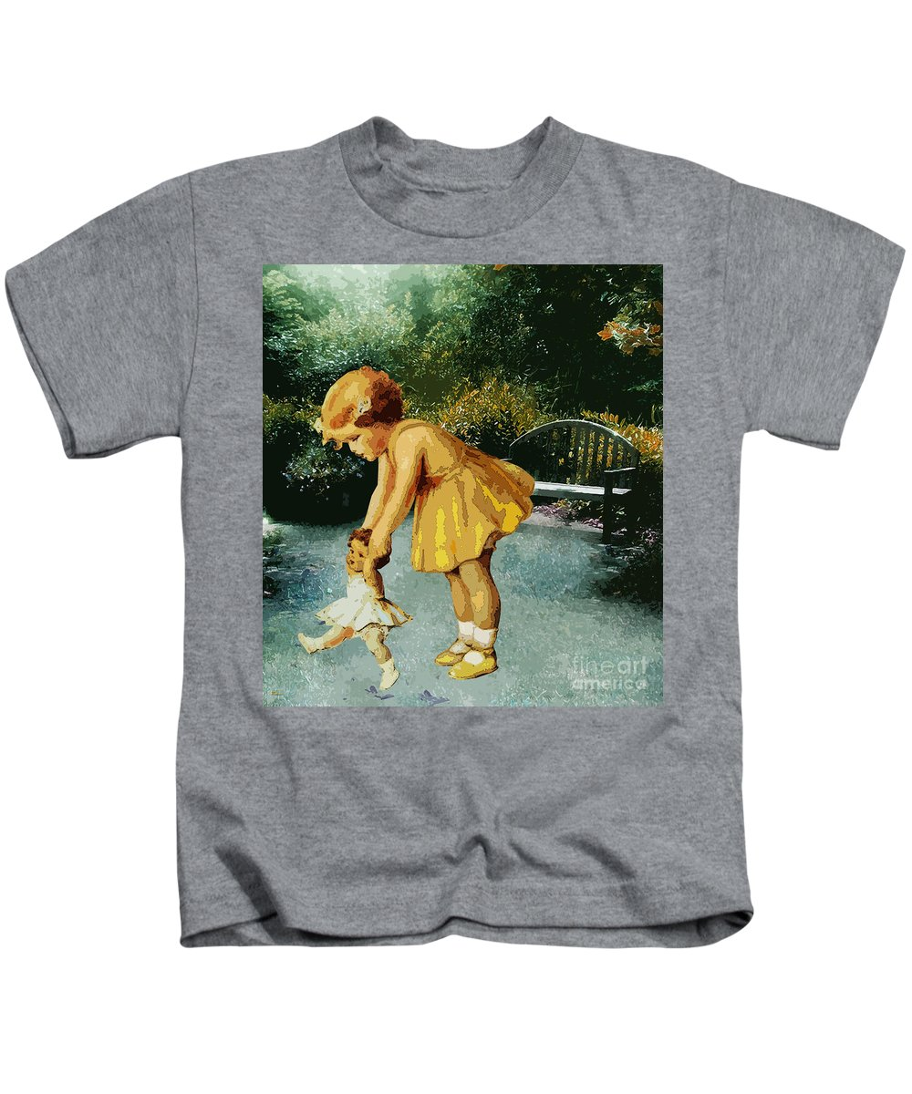 Child Girl Little Girl Toddler Childhood Play Time Play Doll Toy Dolly Walking Dolly Vintage Green Yellow Garden Nature Outdoors Garden Bench Kids T-Shirt featuring the mixed media Out For A Stroll In The Garden by Tammera Malicki-Wong