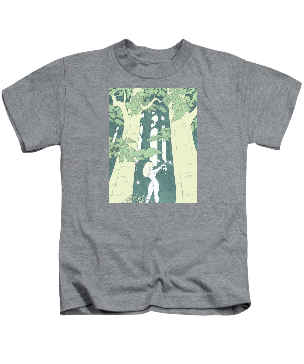 Elf Kids T-Shirt featuring the drawing Out Of Hand by Tommy Hunt