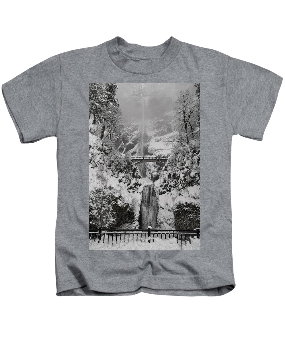 Out Of The Fog Kids T-Shirt featuring the photograph Out Of The Fog by Wes and Dotty Weber