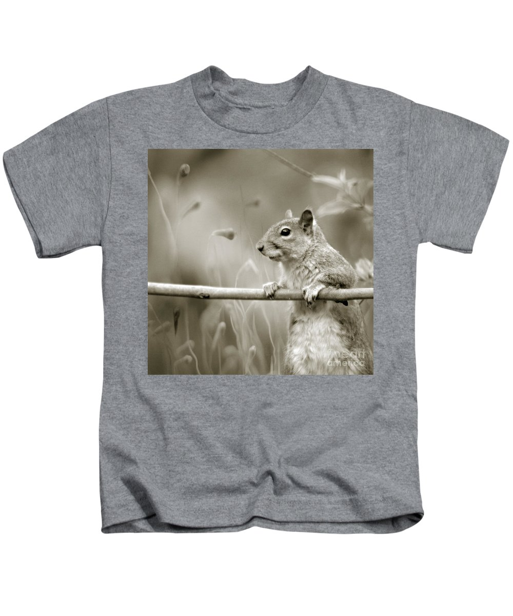 Squirrel Kids T-Shirt featuring the photograph Over The Fence In Black And White by Angel Ciesniarska