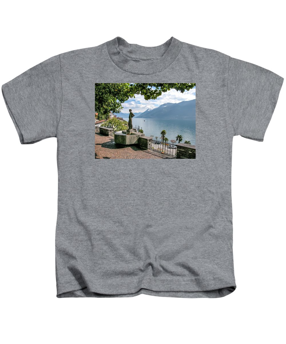 Switzerland Kids T-Shirt featuring the photograph Overlook Of Lake Maggiori by Alan Toepfer