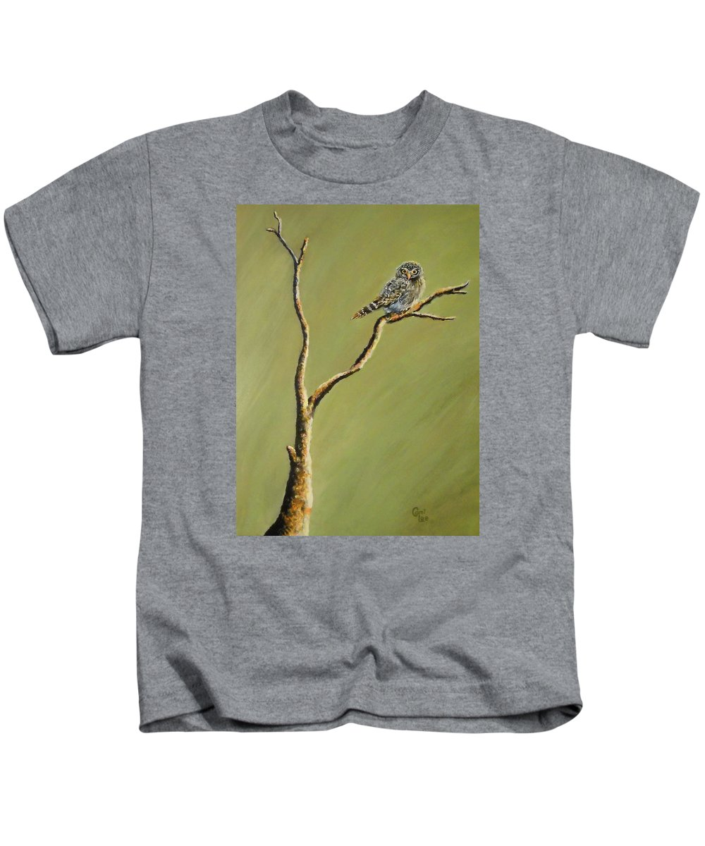 Owl Kids T-Shirt featuring the painting Owl On A Branch by Cami Lee