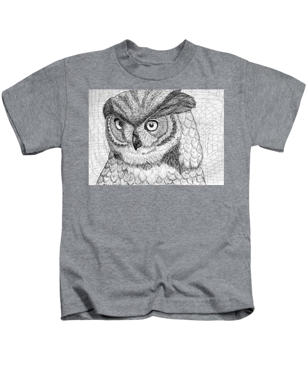 Owl Kids T-Shirt featuring the drawing Owl by Sarah Iwany
