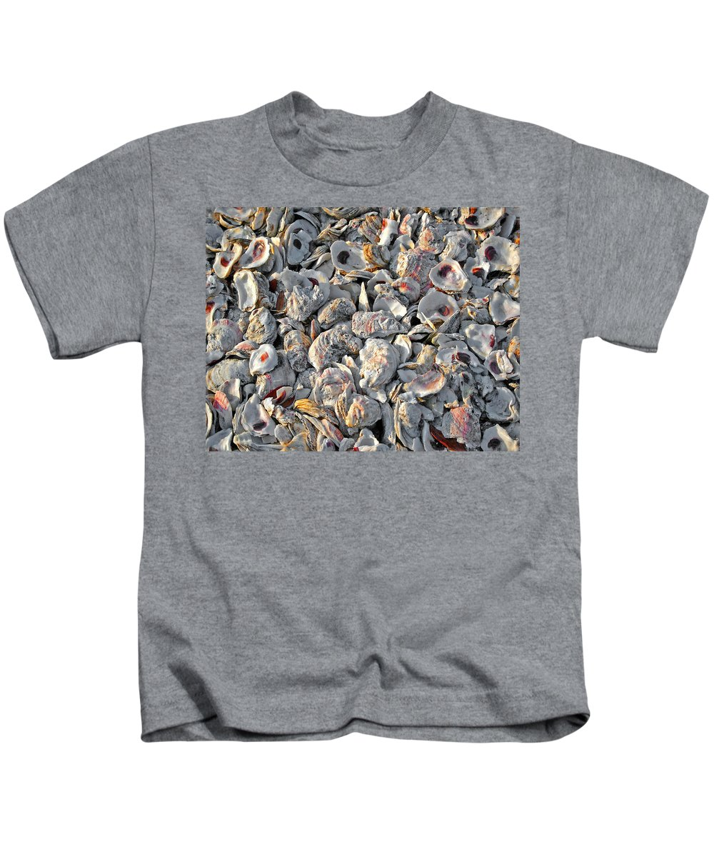 Pelican Kids T-Shirt featuring the digital art Oysters Shells by Michael Thomas