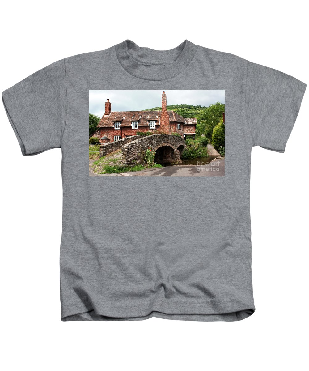 Packhorse Kids T-Shirt featuring the photograph Packhorse Bridge At Allerford by Rob Hawkins