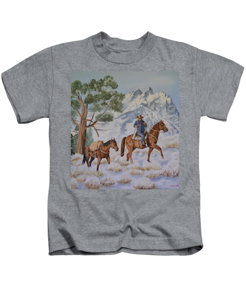 Western Art Kids T-Shirt featuring the painting Packing In by Wanda Dansereau