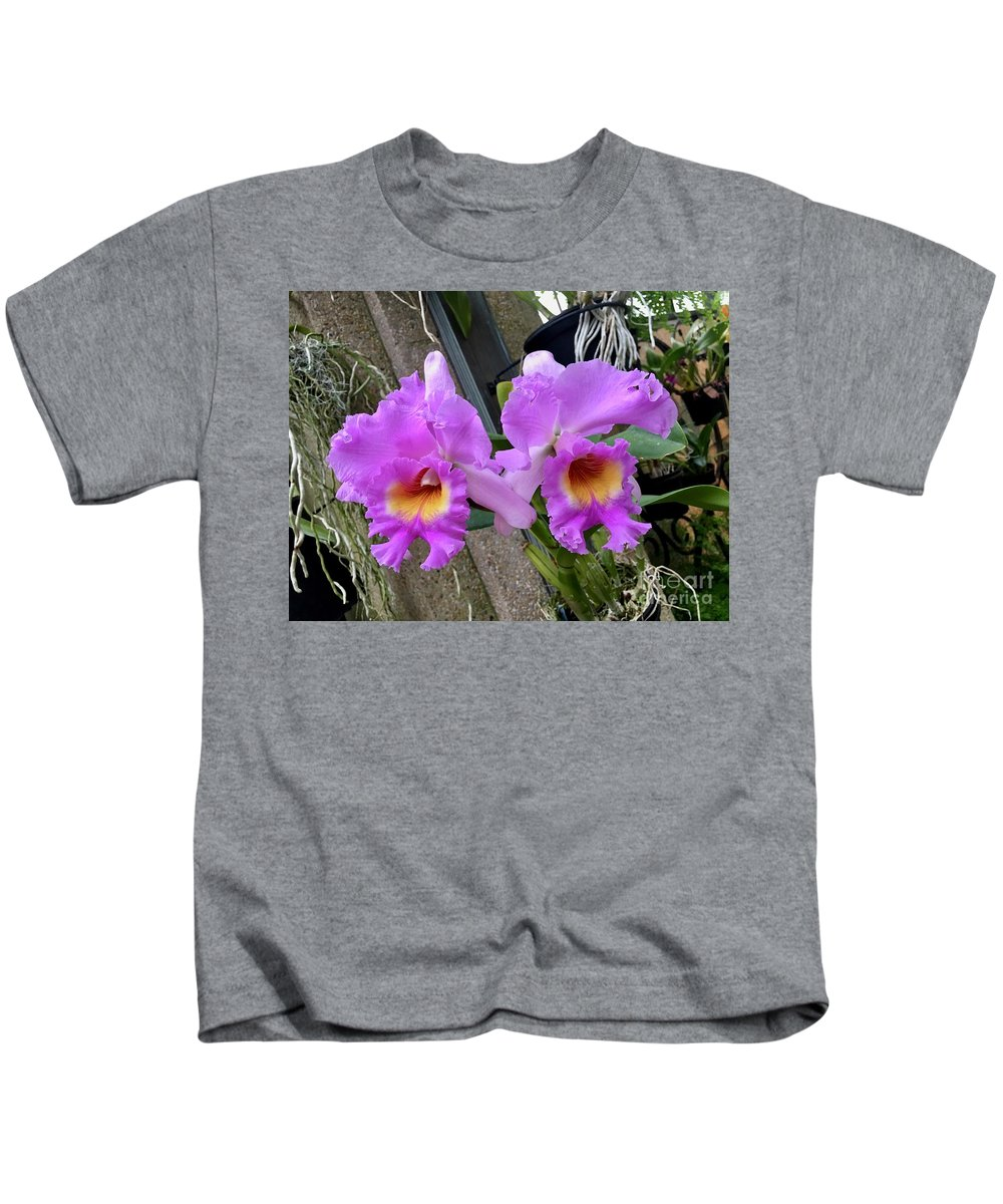 Art Kids T-Shirt featuring the photograph Pretty Purple Orchids by Jeannie Rhode