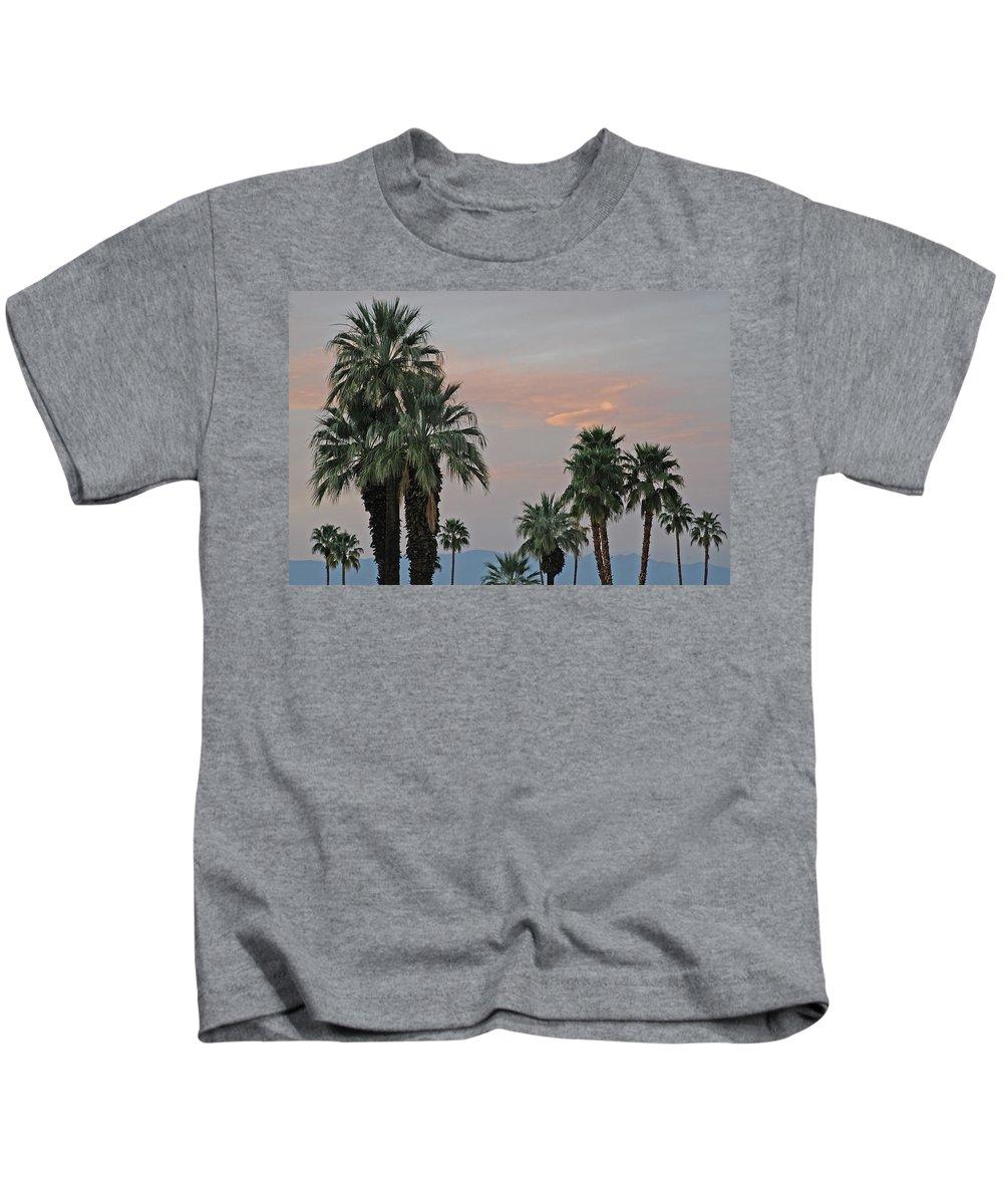 Palm Kids T-Shirt featuring the photograph Palm Desert Sunset by Carol Eliassen