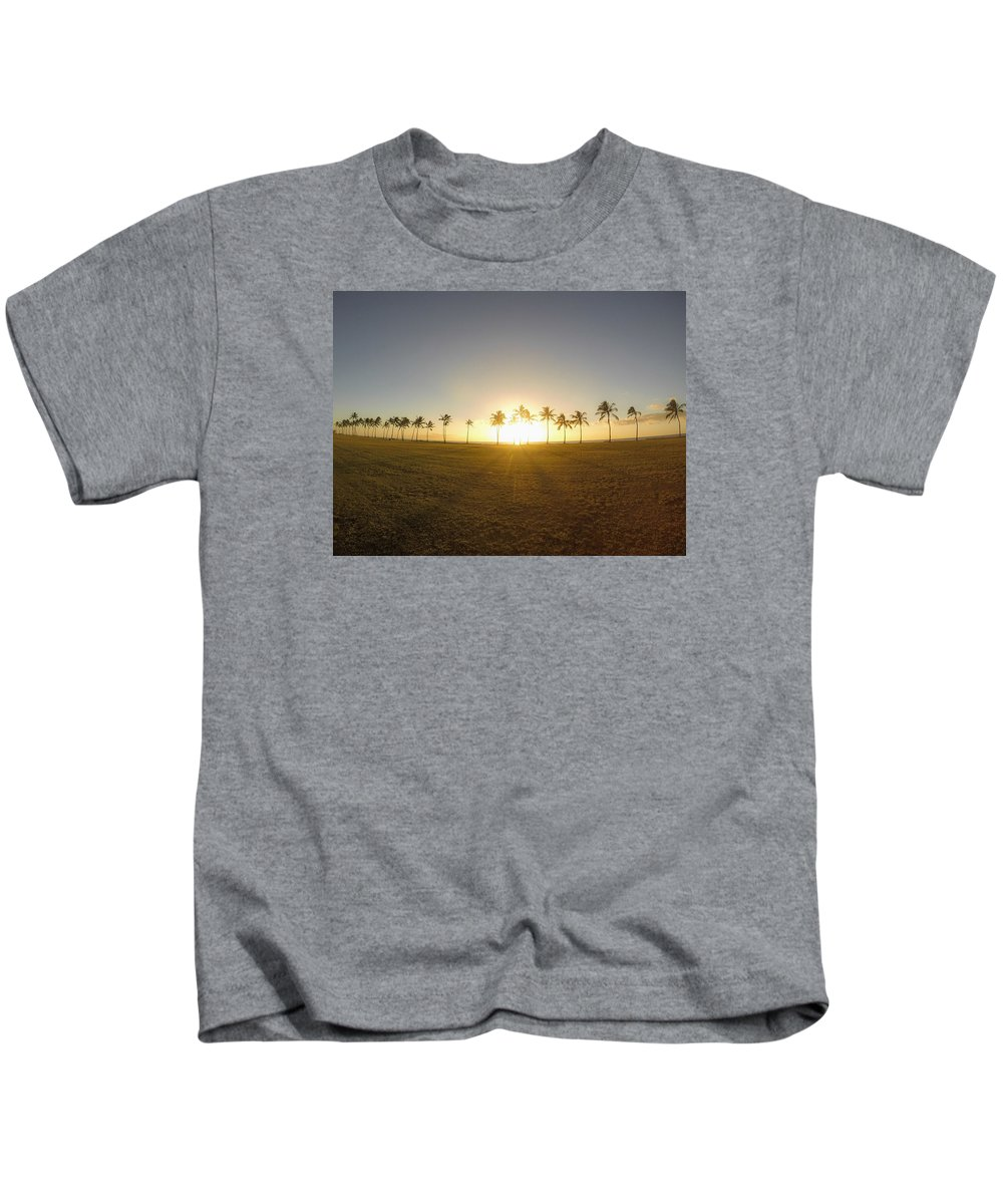 Palm Trees Kids T-Shirt featuring the photograph Palm Tree Sunset by Megan Martens