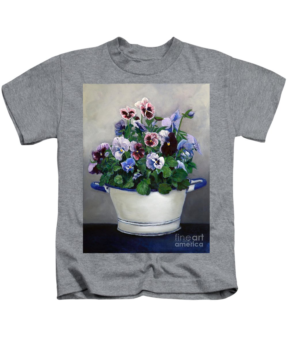Painting Kids T-Shirt featuring the painting Pansies by Portraits By NC