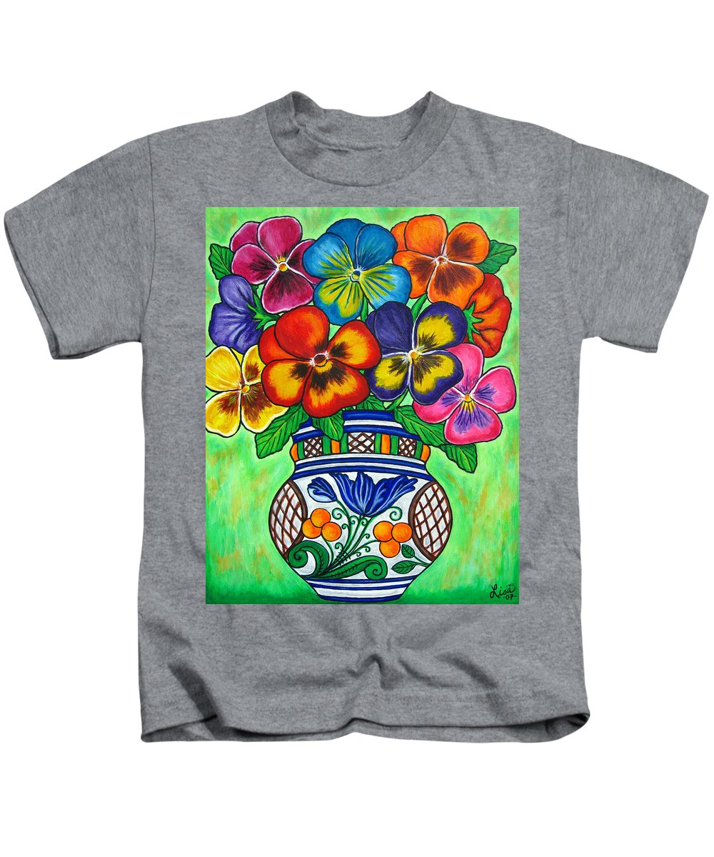 Flower Kids T-Shirt featuring the painting Pansy Parade by Lisa Lorenz