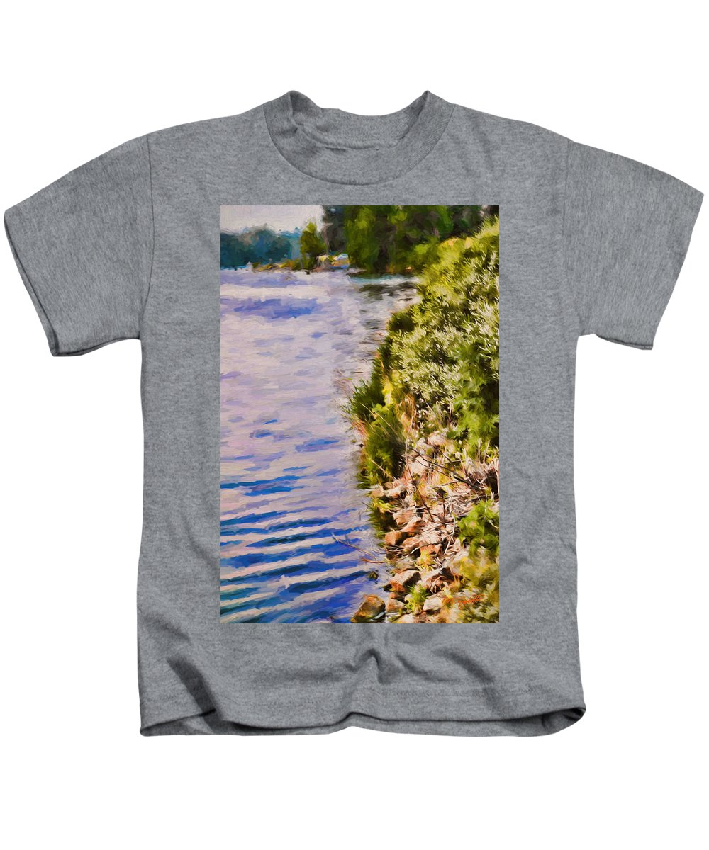 Lake Kids T-Shirt featuring the painting Paradise Lake Shore by Theresa Campbell