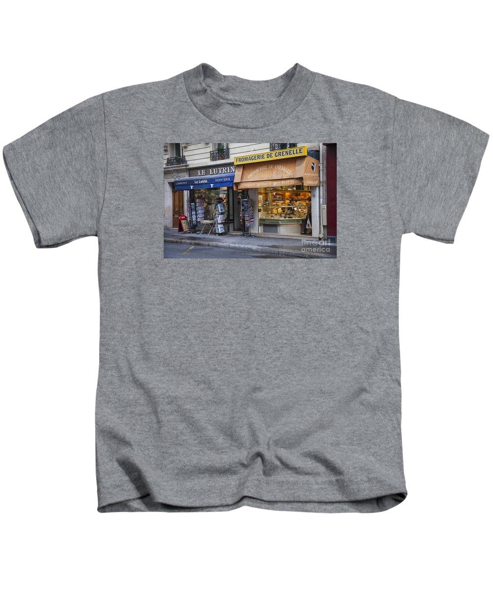 Paris Kids T-Shirt featuring the photograph Parisian Shops by Timothy Johnson