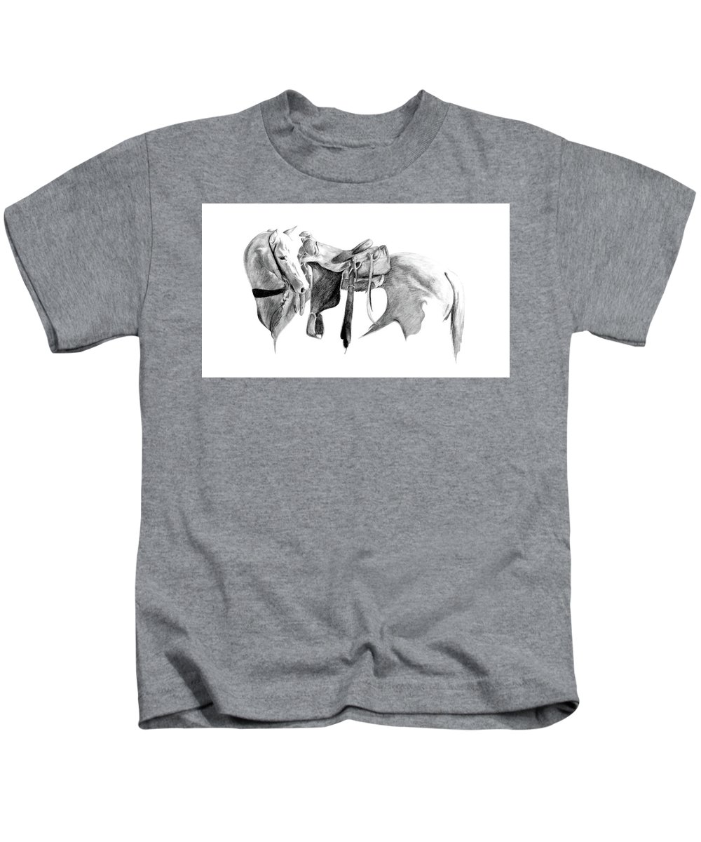 Horse Kids T-Shirt featuring the drawing Party Doll by Idie Karr