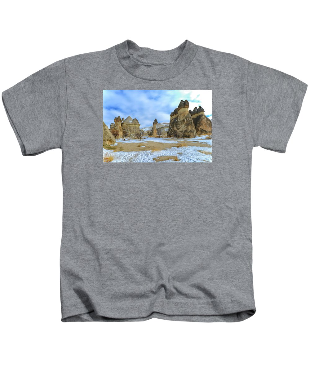 Earth Pillars Kids T-Shirt featuring the photograph Pasabag Monks Valley In Cappadocia, Turkey by Ivan Batinic