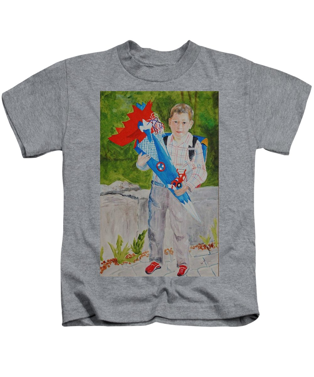 School Kids T-Shirt featuring the painting Pascals First Day At School 2004 by Helmut Rottler