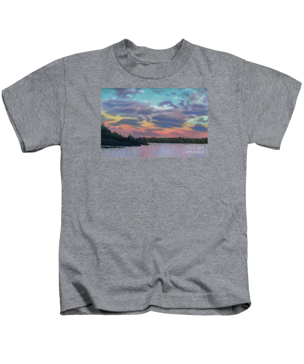 Landscape Kids T-Shirt featuring the painting Pastel Sunset by Lynn Quinn