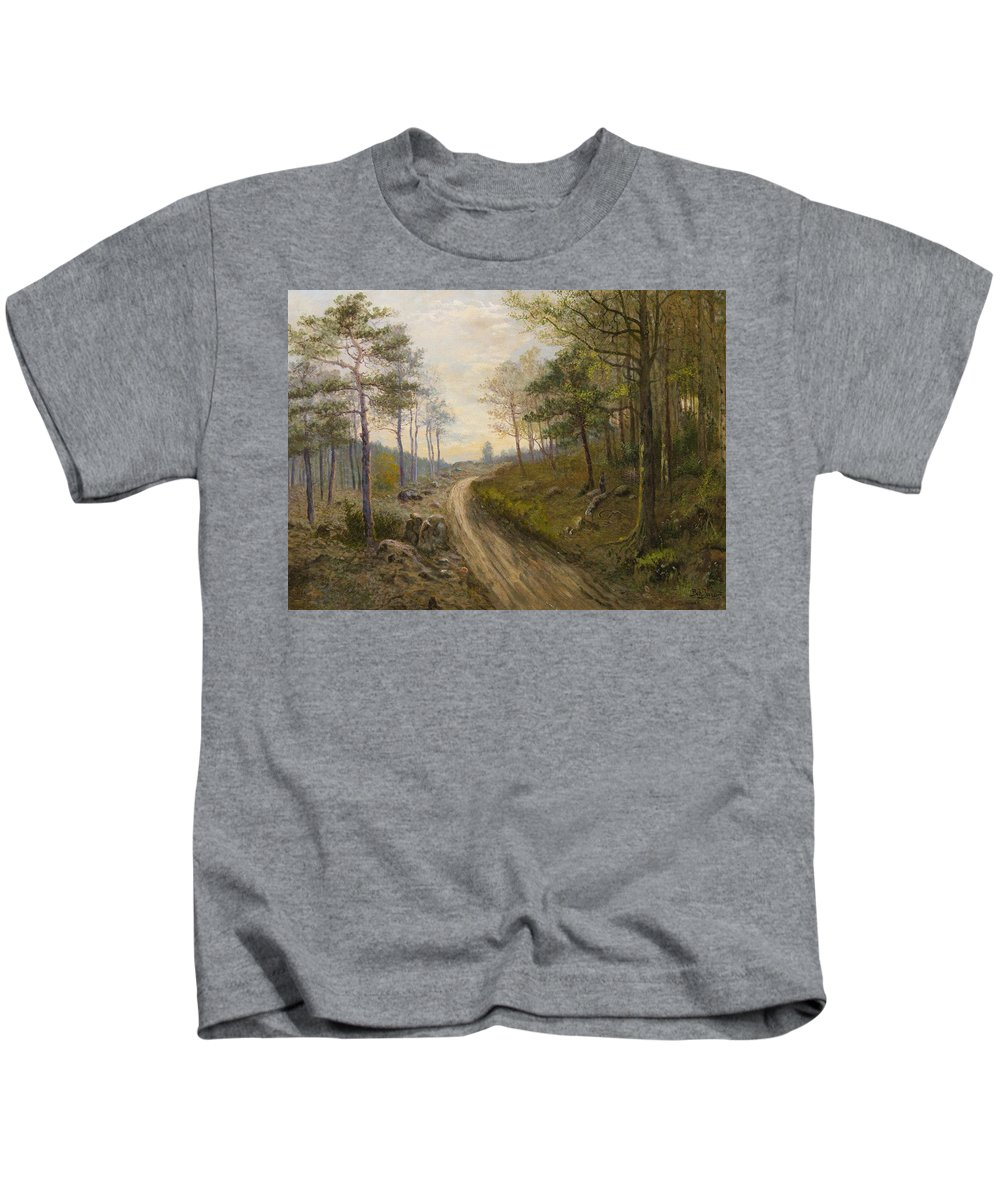 Jaro� Kids T-Shirt featuring the painting Path Through The Forest by MotionAge Designs
