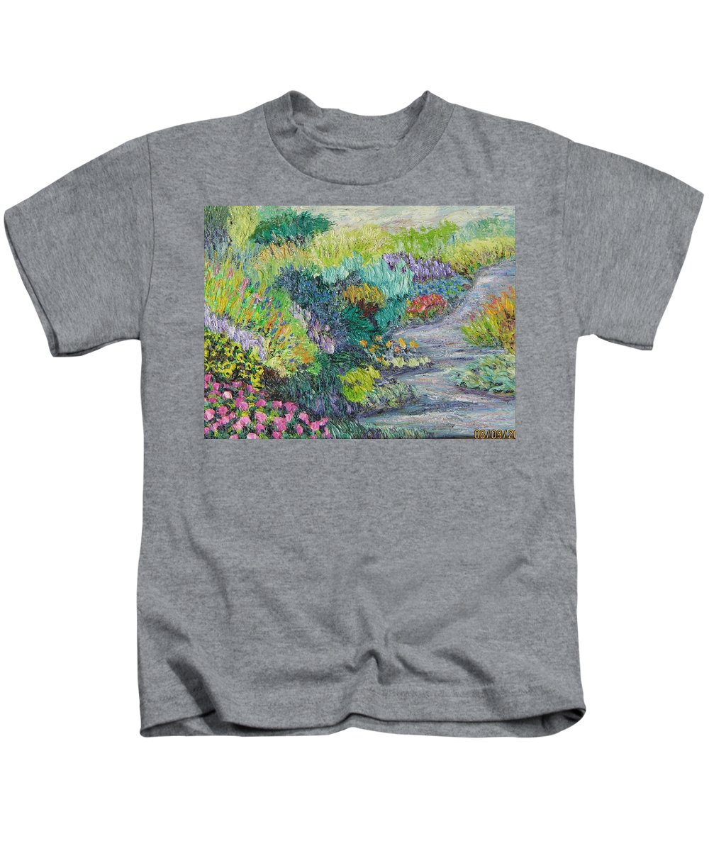 Flowers Kids T-Shirt featuring the painting Pathway Of Flowers by Richard Nowak