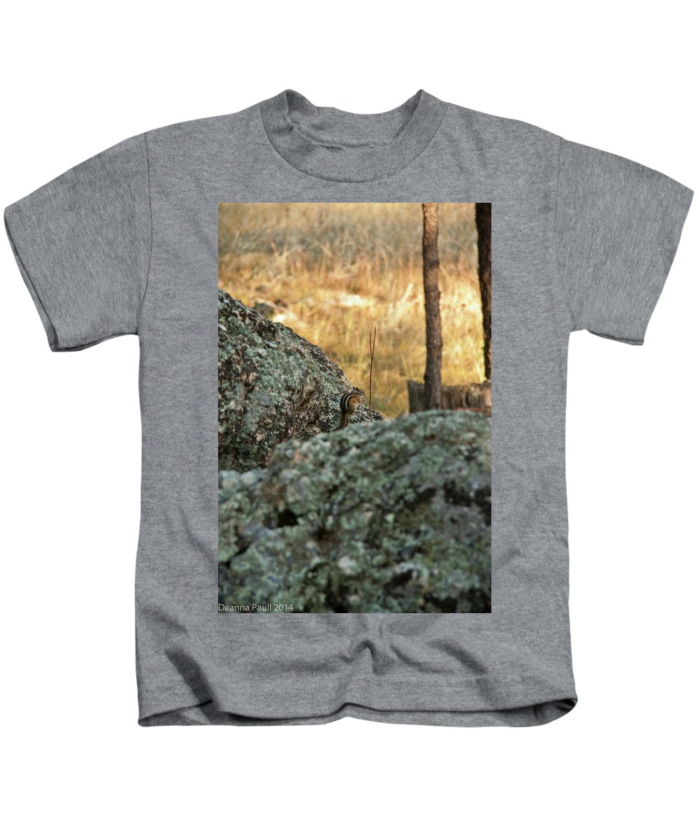 Chipmunk Kids T-Shirt featuring the photograph Pause For Dinner by Deanna Paull