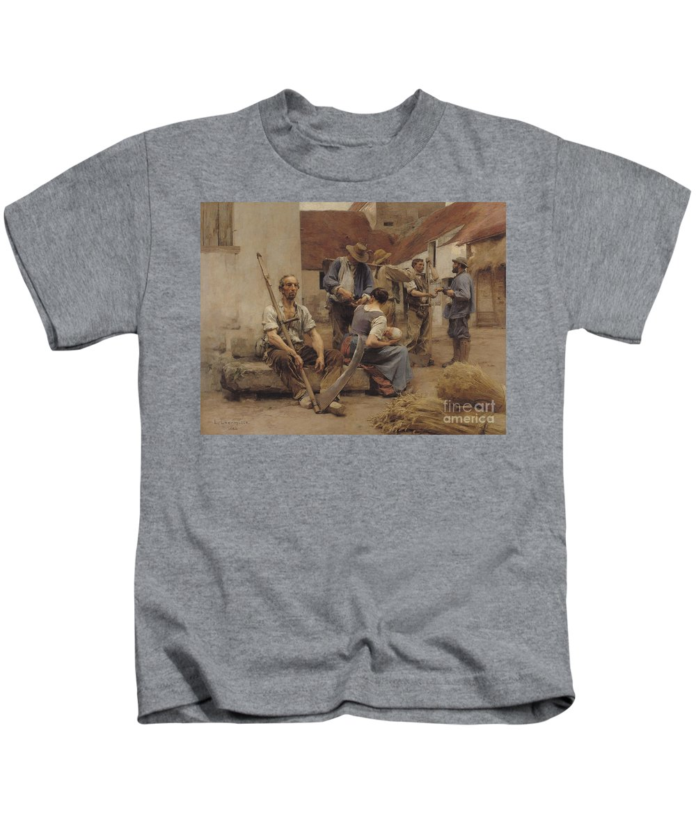 Paying Kids T-Shirt featuring the painting Paying The Harvesters by Leon Augustin Lhermitte