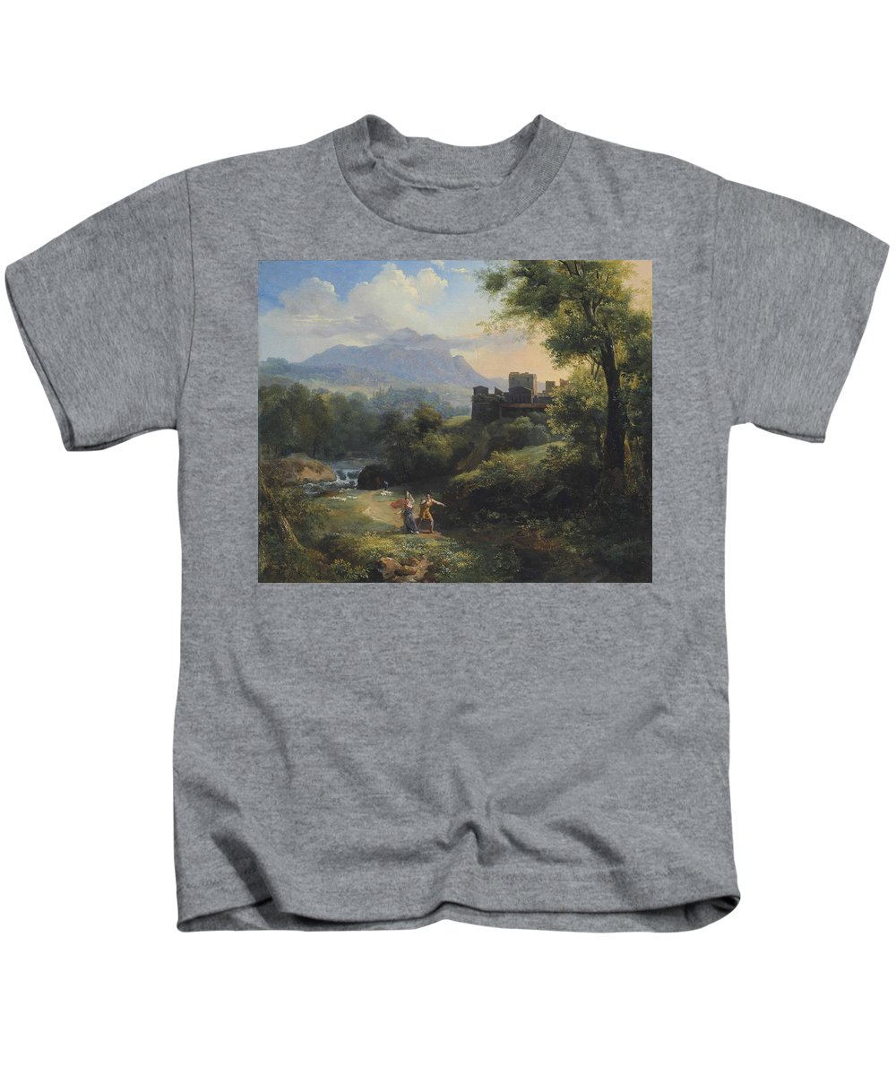 Jean-charles Joseph R�mond - Paysage Arcadien (1820) Kids T-Shirt featuring the painting Paysage Arcadien by MotionAge Designs