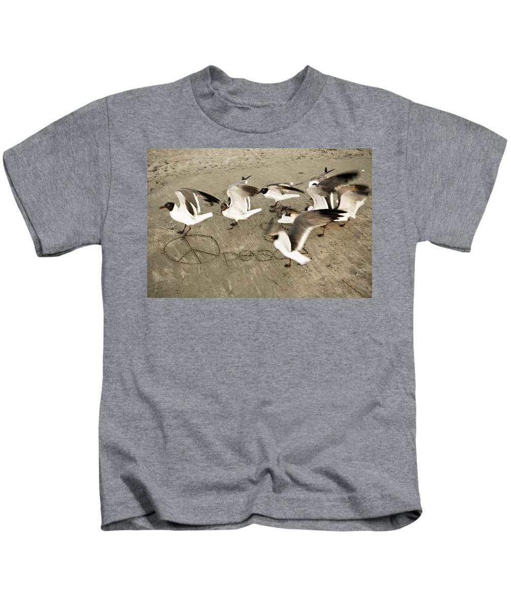 Bird Kids T-Shirt featuring the photograph Peace Dance by Marilyn Hunt