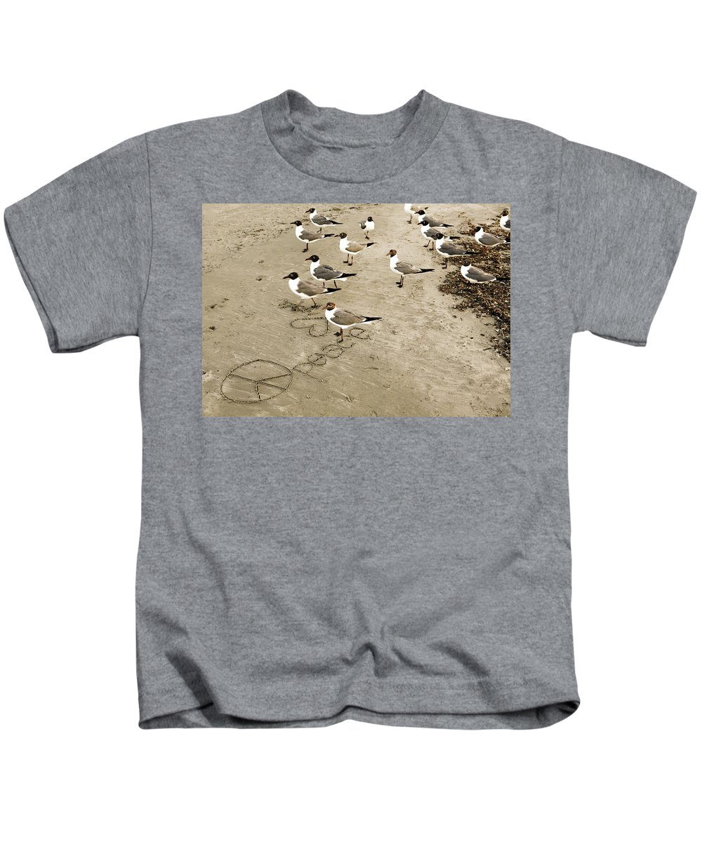 Americana Kids T-Shirt featuring the photograph Peace On The Beach by Marilyn Hunt