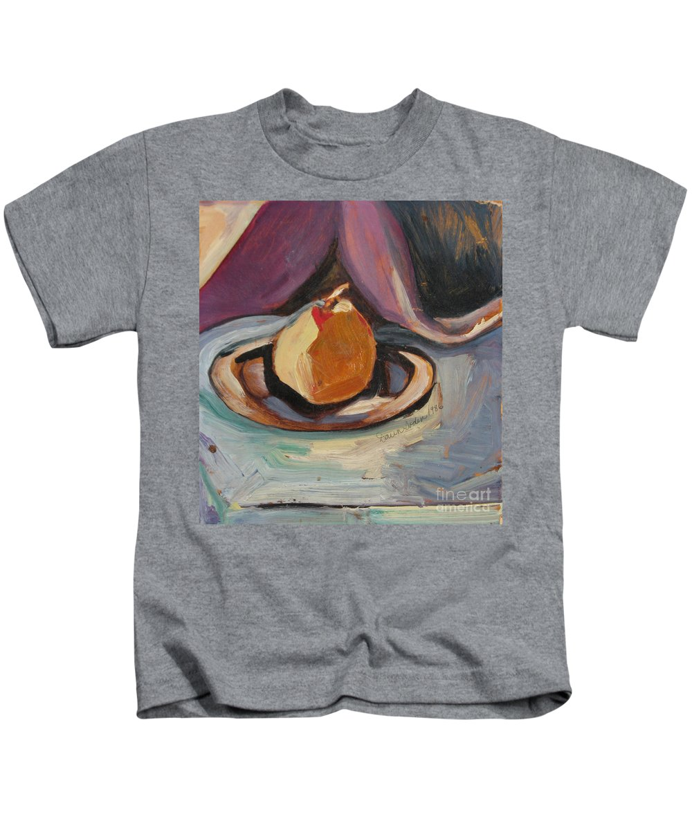 Oil Painting Kids T-Shirt featuring the painting Pear by Daun Soden-Greene