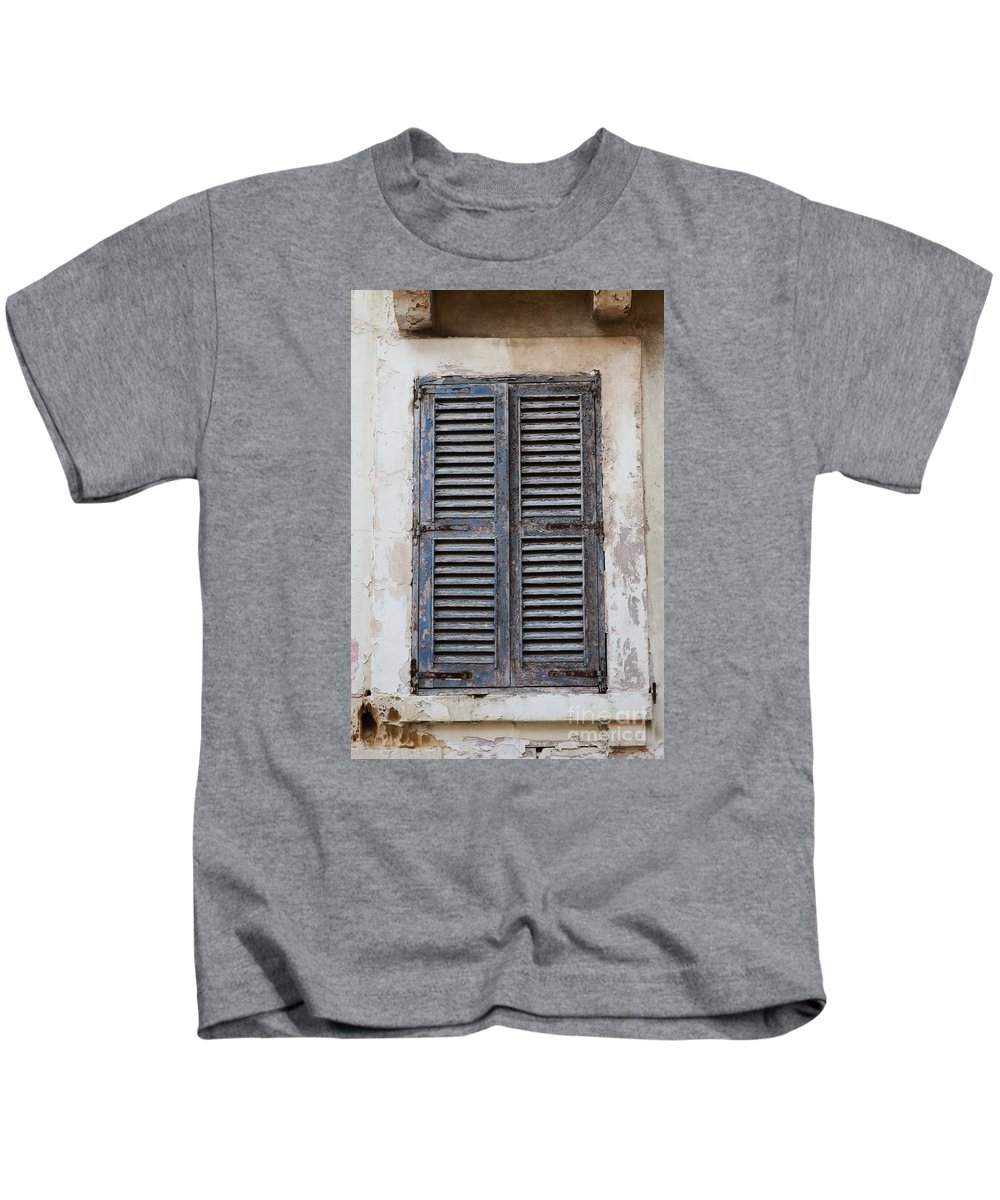 Shutters Kids T-Shirt featuring the photograph Peeling Shutters by Jacqueline Moore