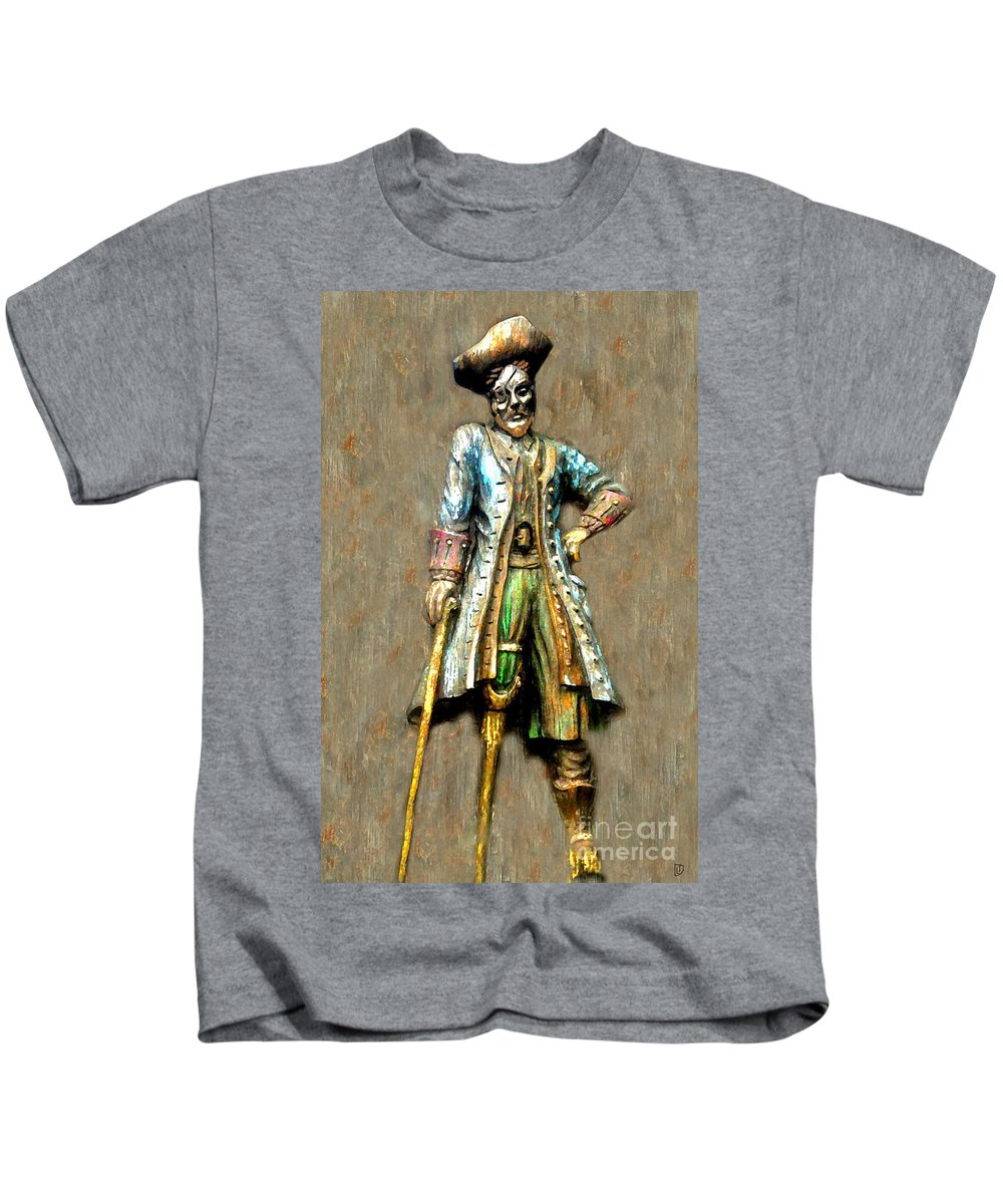 Pirate Kids T-Shirt featuring the painting Peg Leg by David Lee Thompson