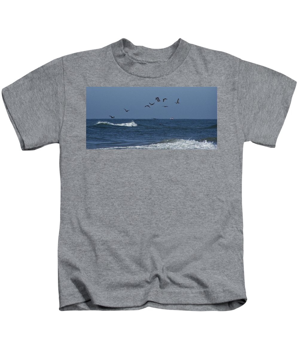 Pelicans Kids T-Shirt featuring the photograph Pelicans Over The Atlantic by Teresa Mucha
