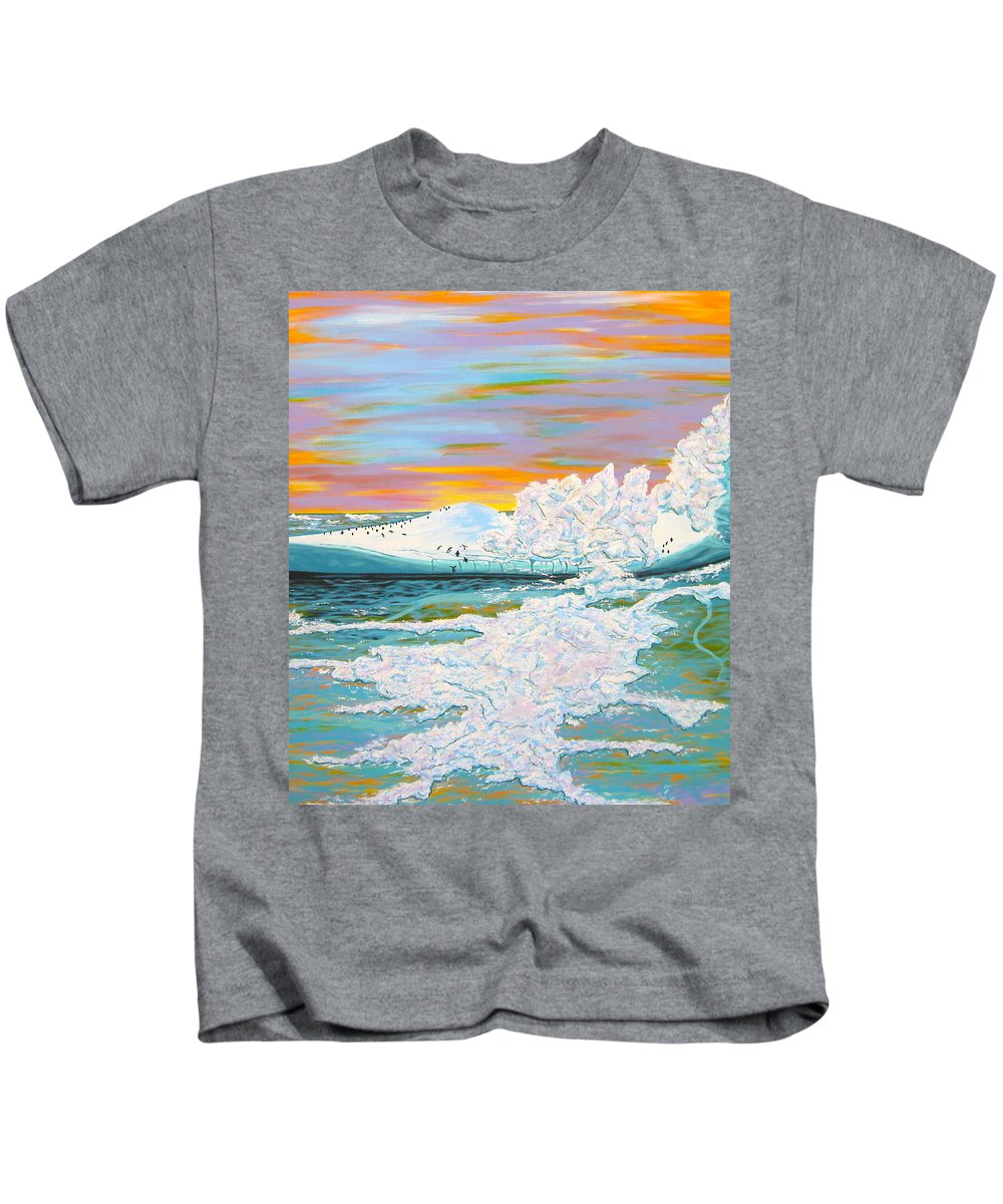 Ice Kids T-Shirt featuring the painting The Last Iceberg by V Boge