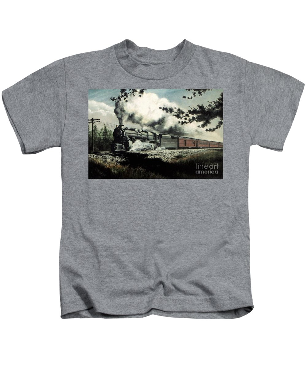 Pennsylvania Railroad Prr Train Painting Railroad Maryland And Pennsylvania Autumn Fall Colors Steam Engine Kids T-Shirt featuring the pastel Pennsy In The Pines by David Mittner