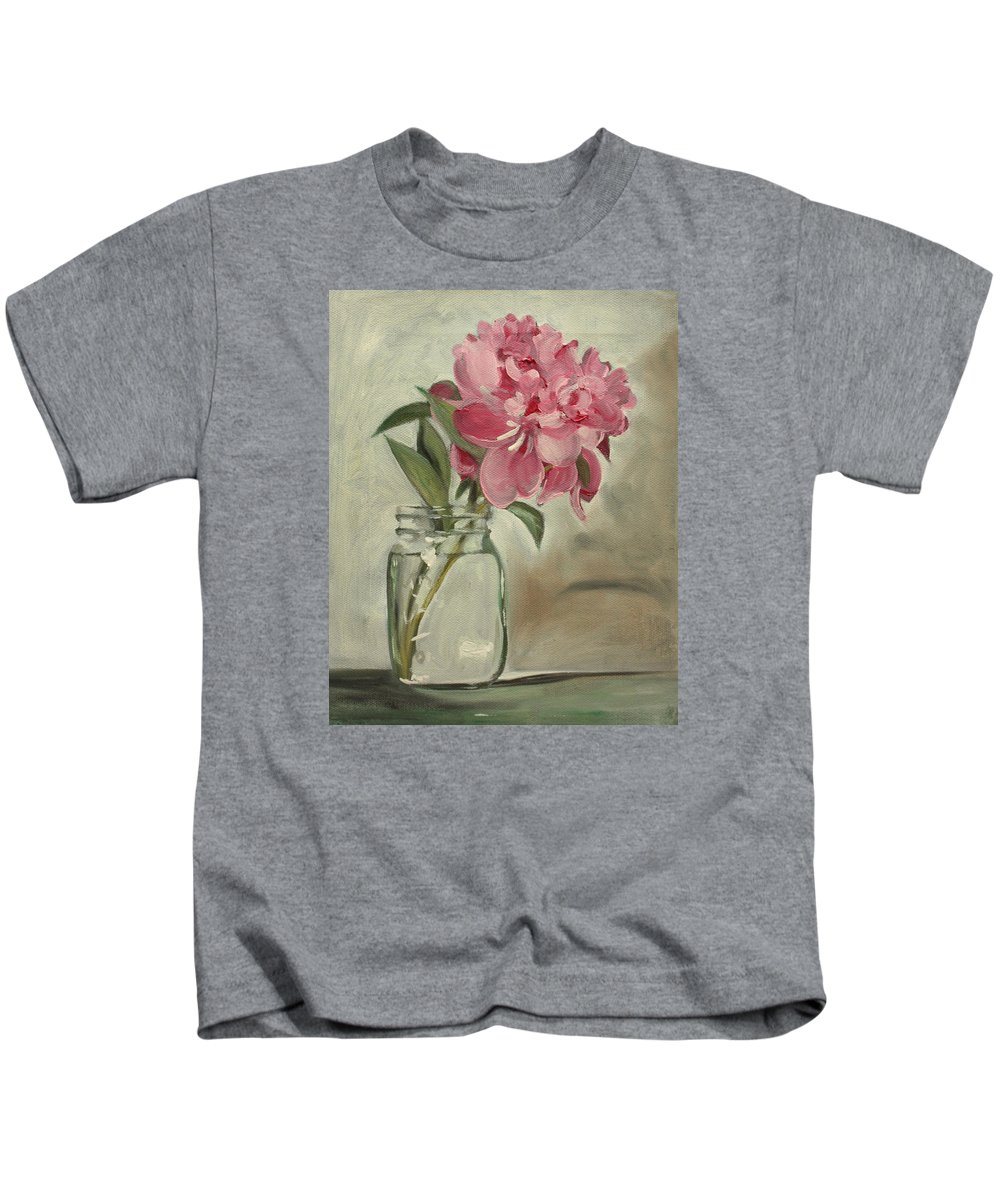 Still-life Kids T-Shirt featuring the painting Peony by Sarah Lynch