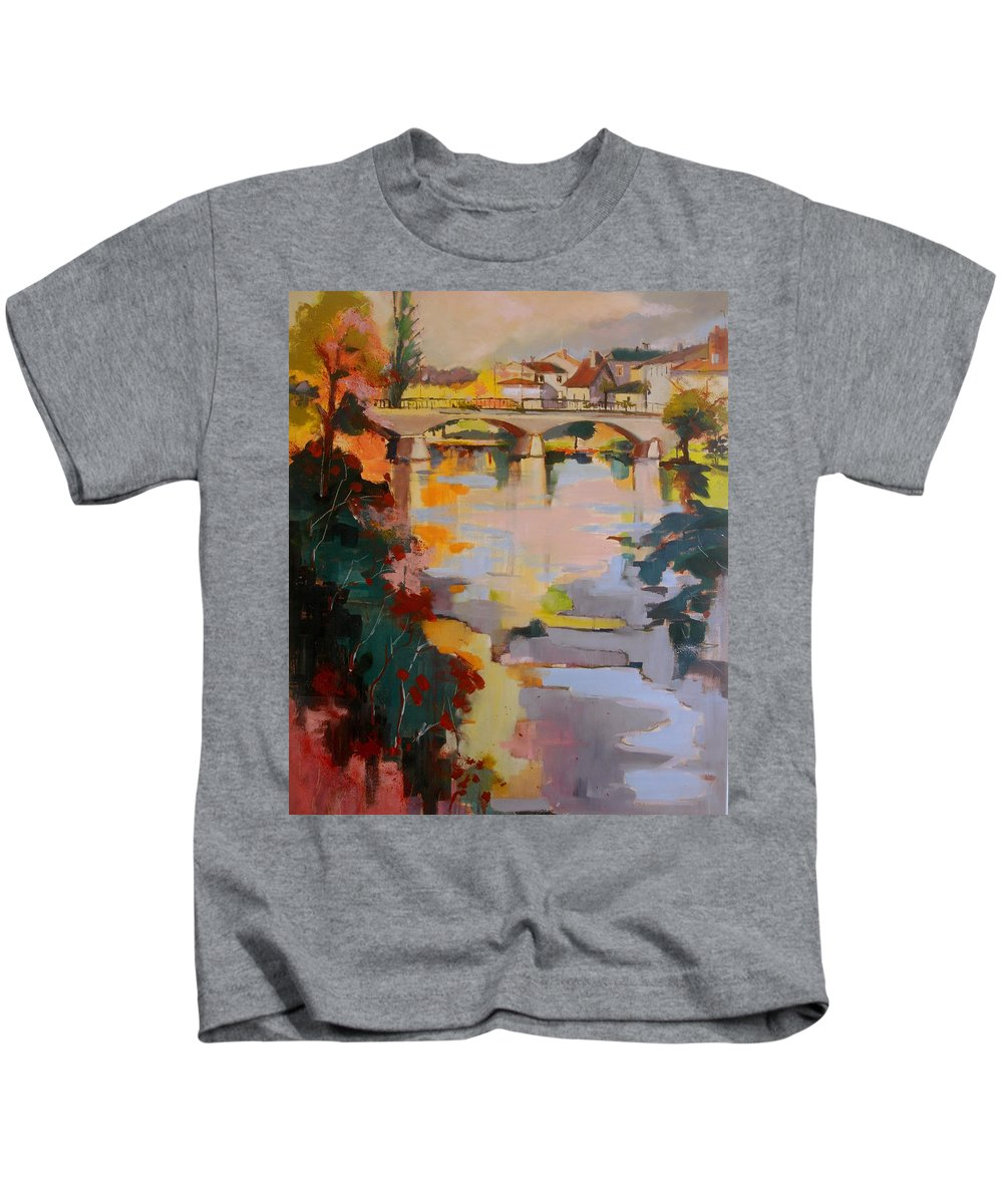 Perigueux Kids T-Shirt featuring the painting Perigueux 2016 by Kim PARDON
