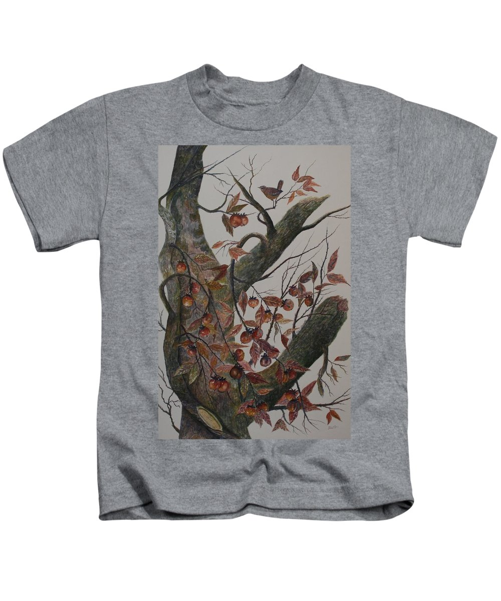 Persimmons; Tree; Landscape' Carolina Wren; Bird Kids T-Shirt featuring the painting Persimmon Tree by Ben Kiger