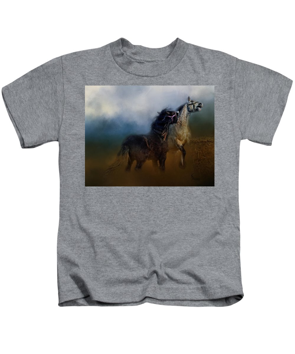 Gypsy Horses Playing Kids T-Shirt featuring the digital art Petulance Rising by Kimberly Stevens