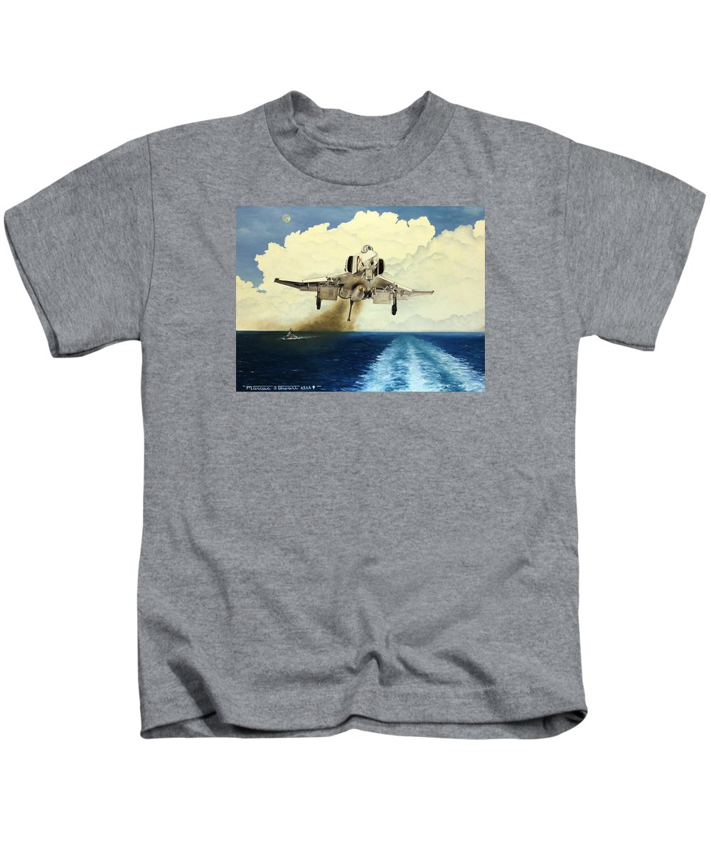 F-4 Kids T-Shirt featuring the painting Phantom Coming Aboard by Marc Stewart