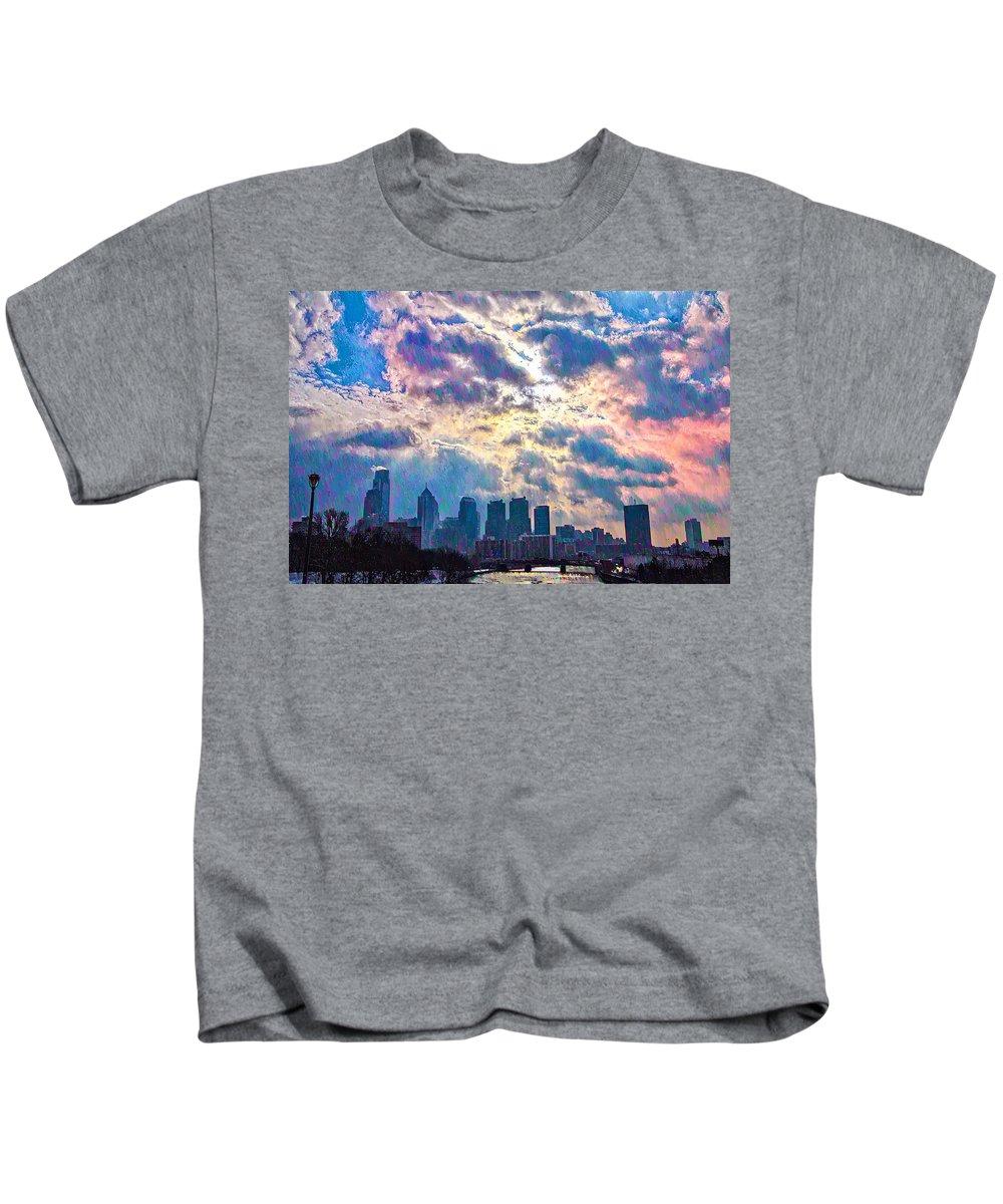 Philadelphia. Schuylkill Kids T-Shirt featuring the photograph Philadelphia Sky by Bill Cannon