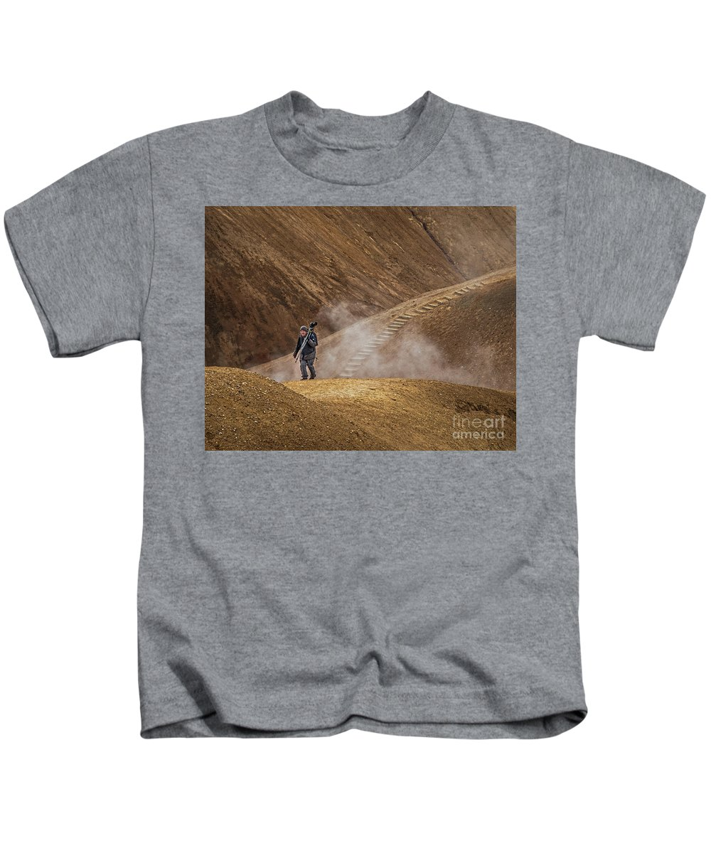 Iceland Kids T-Shirt featuring the photograph Photographers Searching For Composition V by Izet Kapetanovic