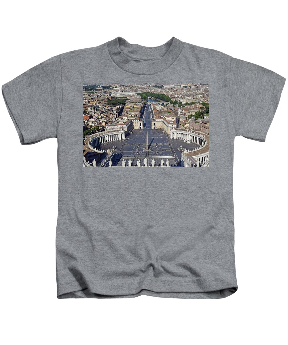 Aerial Kids T-Shirt featuring the photograph Piazza San Pietro And Colonnaded Square As Seen From The Dome Of Saint Peter's Basilica - Rome, Ital by Mihaela Nica