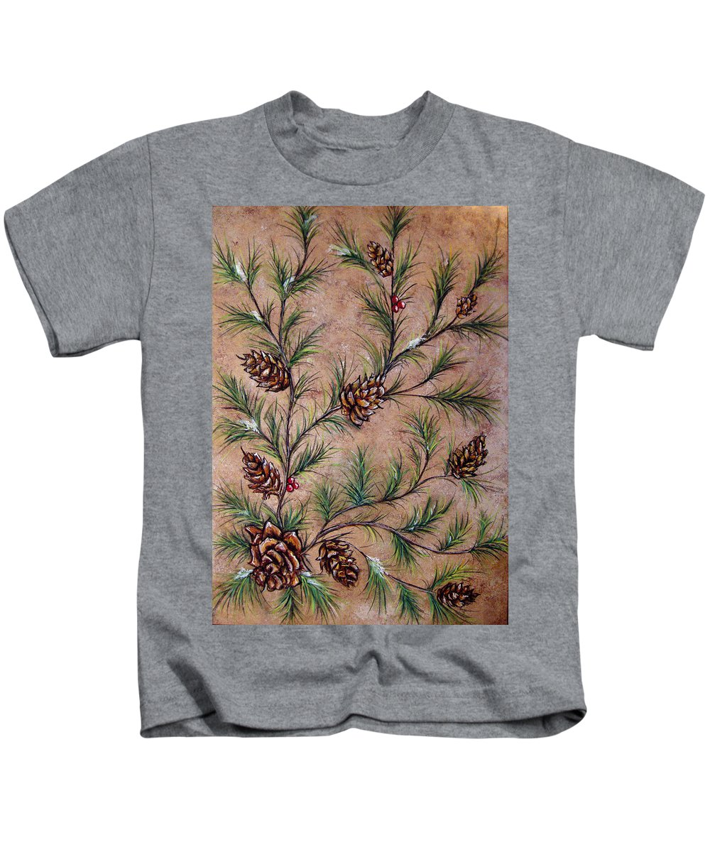 Acrylic Kids T-Shirt featuring the painting Pine Cones And Spruce Branches by Nancy Mueller