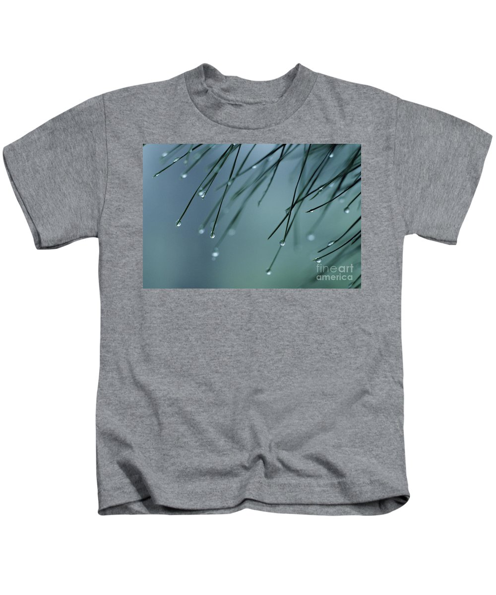 Beautiful Kids T-Shirt featuring the photograph Pine Needle Raindrops by Greg Vaughn - Printscapes
