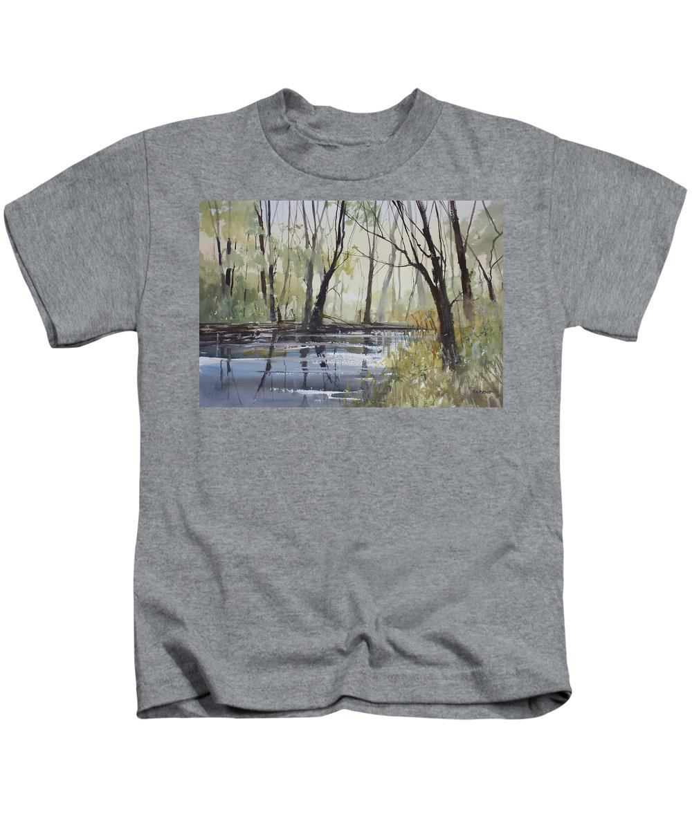 Ryan Radke Kids T-Shirt featuring the painting Pine River Reflections by Ryan Radke