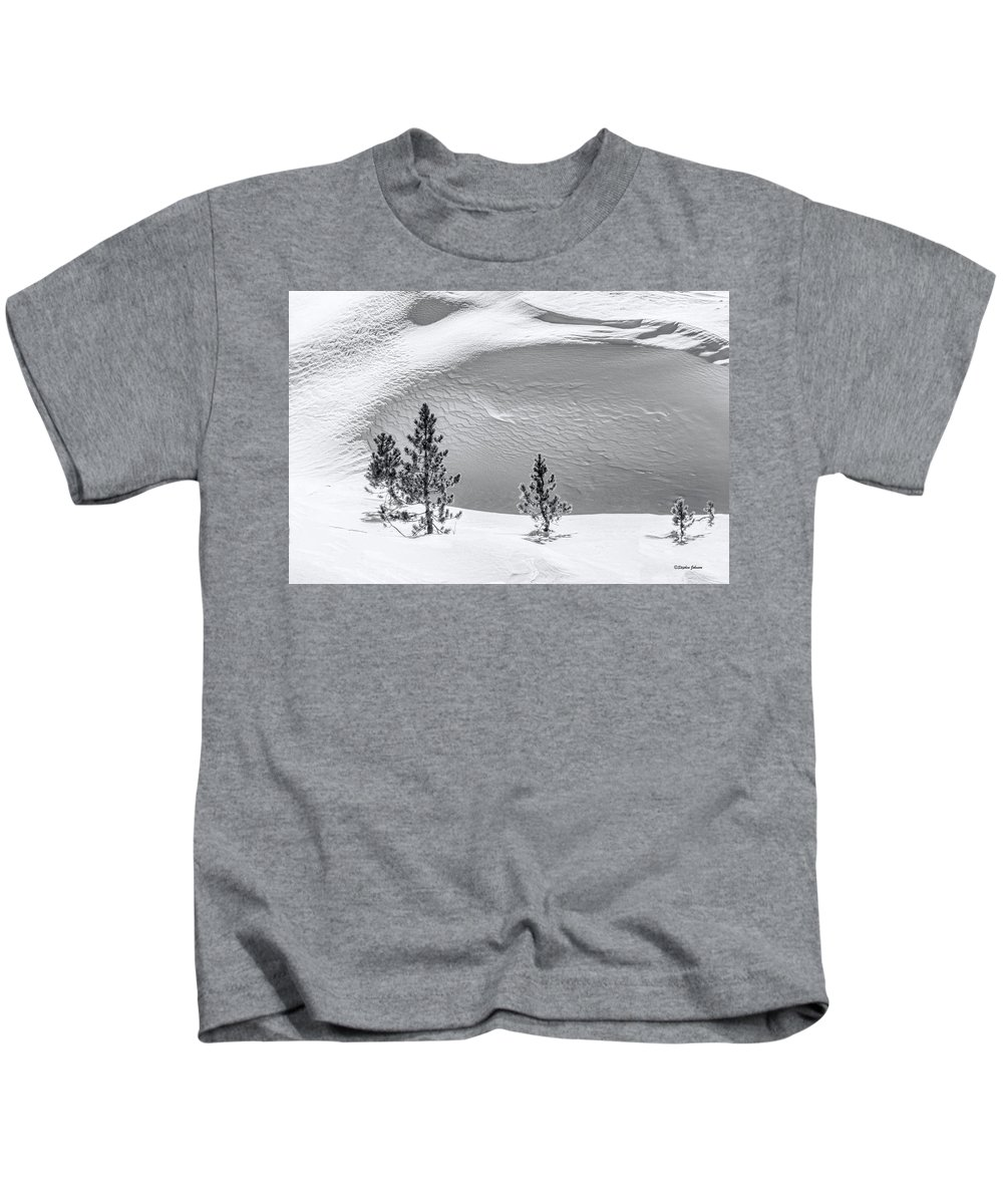 Snow Kids T-Shirt featuring the photograph Pines In Snow Drifts Black And White by Stephen Johnson