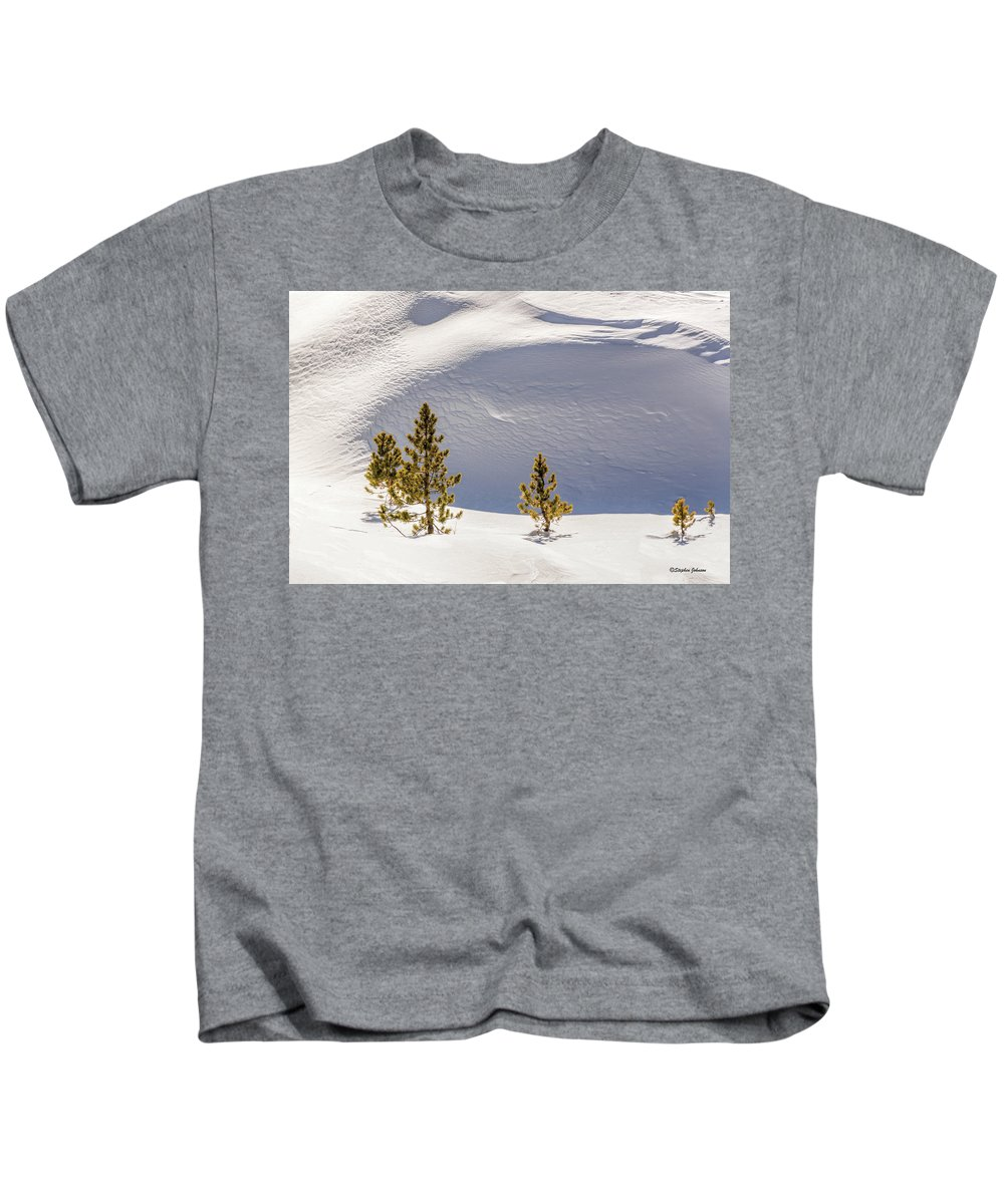 Snow Kids T-Shirt featuring the photograph Pines In The Snow Drifts by Stephen Johnson