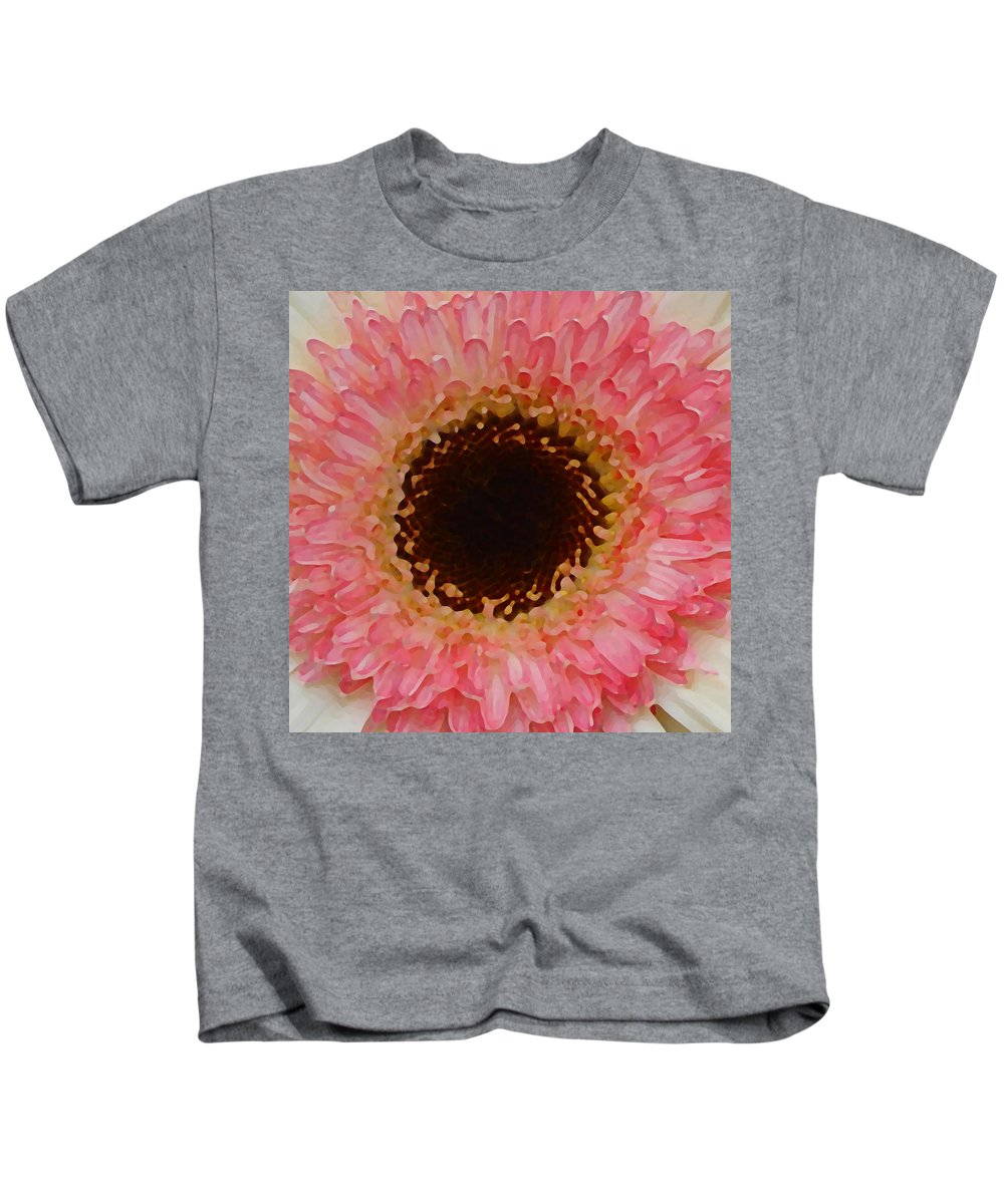 Daisy Kids T-Shirt featuring the painting Pink And Brown Gerber Center by Amy Vangsgard