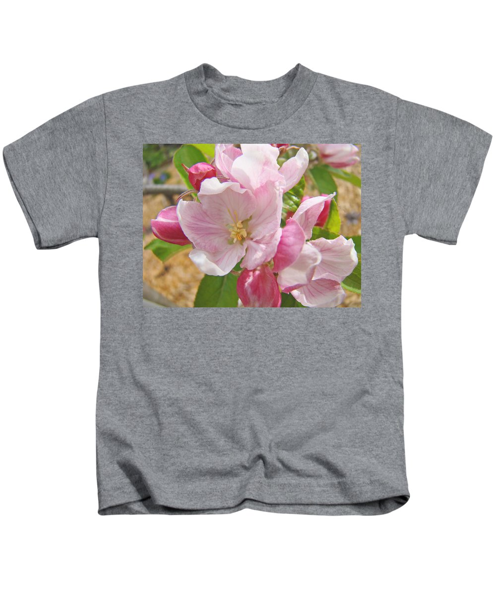Blossom Kids T-Shirt featuring the photograph Pink Apple Blossoms Art Prints Spring Trees Baslee Troutman by Baslee Troutman